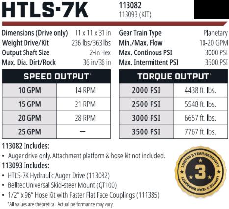 Belltec HTLS-7k Hydraulic Auger Drive